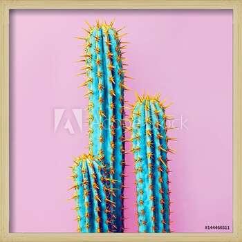 Set Neon Cactus. Minimal creative stillife Uokvireni plakat