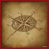 Compass rose in perspective with grunge texture Uokvireni plakat