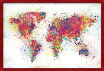 Uokvireni plakat World Map - Colour Splash
