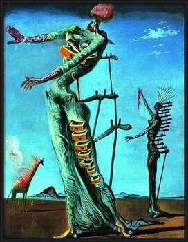 Uokvireni plakat Salvador Dali - Girafe En Feu