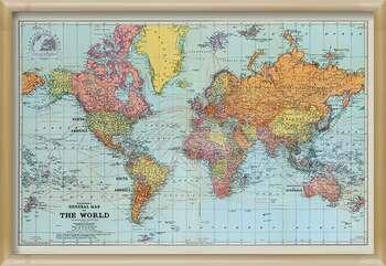 Uokvireni plakat Stanfords General Map Of The World - Colour