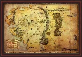 Uokvireni plakat The Hobbit - Middle Earth Map