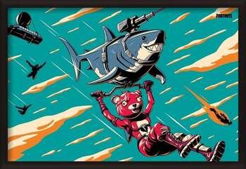 Uokvireni plakat Fortnite - Laser Shark